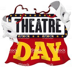 Sign Decorated with Curtain and Masks for Theatre Day Celebration World Theatre Day, Illuminated Signs, Red Curtains, Free Vector Art, Feature Film, Photo Illustration, Image Now, Royalty Free Images, Masks