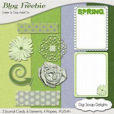 DIgital Scrapbooking Free Mini Kit #Freebie #Treding Green and Gray