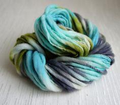 SALE: Handspun Yarn, Laguna, Thick and Thin Yarn, French Merino Art Yarn, knitting supplies crochet supplies, thick n thin
