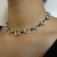 Mobius Chainmail Choker in Bright Aluminum with Green Glass Beads