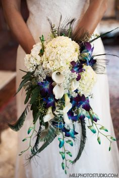 Bridal Bouquet, do you like the hanging flowers or a more put together neat… Bride Bouquets, Flower Bouquet Wedding, Floral Wedding, Wedding Colors, Boquet, Bridal Flowers, Quinceanera Decorations, Wedding Decorations, Peacock Wedding Centerpieces