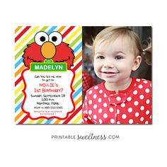 Sesame Street Birthday Party Invitation – Custom Personalized Printable with Picture Elmo | Printable Sweetness
