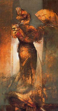El baile del abanico. 1999. Óleo sobre tabla. 38 x 61 cm. Obra de Julia Hidalgo Quejo