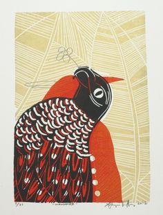Sheyne Tuffery, Manumea, woodcut on 510 x 360 mm paper, 2012. NZ$250 incl GST. Mural Ideas, Printmaking, Paper Art, Art Gallery, Kids Rugs, Birds, Artist, Decor, Papercraft