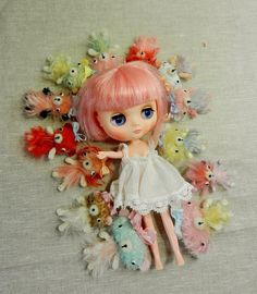 Middie Blythe with Micro Teddies    #doll #toy #blythe