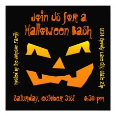 Halloween Party Jack O Lantern Face Pumpkin Invitations for halloween parties, Halloween birthday party, or haunted house invitations.  http://www.zazzle.com/halloween_party_jack_o_lantern_pumpkin_invitations-161789535963927318?rf=238133515809110851 #Halloween #invitations