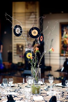 Records Centerpiece for a Music Inspired Event – Wedding Centrepieces Music Centerpieces, Reunion Centerpieces, Reunion Decorations, Disco Party Decorations, Birthday Party Centerpieces, Wedding Centrepieces, Table Centerpieces, Disco Birthday Party, 70th Birthday Parties