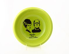 Mr. and Mrs. Wedding Gift, Frankenstein Monster and Bride of Frankenstein bowl, large lime green pasta bowl