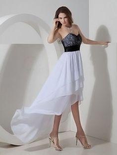 White Asymmetrical Hemline Strapless Lace Chiffon Prom Dress