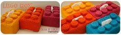 LEGO Box Capa para caixa de lenços. Decoração infantil. Crochet