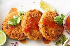 These easy potato patties are spiced with red curry paste and make for a delicious lunchbox snack. Can sub panko for sprouted crushed corn flakes. Vegetable Recipes, Vegetarian Recipes, Cooking Recipes, Healthy Recipes, Vegan Meals, Healthy Food, Easy Cooking, Lunch Recipes, Yummy Recipes