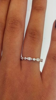 14k Solid Yellow Gold Diamond Eternity Band Stackable Ring