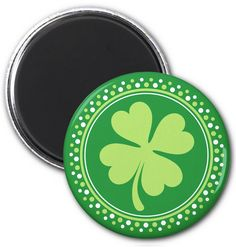 Lucky clover magnet. Fridge magnet or lo0cker magnet featuring a green four-leaf clover surrounded by a border. Ideal for St Patrick's day. Shamrock design