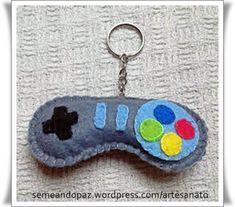 chaveiro controle video game feltro Joystick