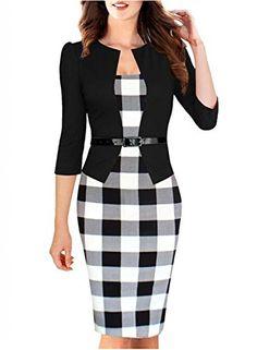 Viwenn Women Elegant Colorblock Long Sleeve V Neck Business Party Dress * LEARN MORE DETAILS @: http://www.amazon.com/Viwenn-Elegant-Colorblock-Sleeve-Business/dp/B00URB39DW%3FSubscriptionId%3DAKIAJQRUCDI3X7MXKAGQ%26tag%3Dpassion4fashion003e-20%26linkCode%3Dxm2%26camp%3D2025%26creative%3D165953%26creativeASIN%3DB00URB39DW