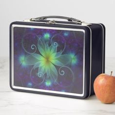 Beautiful Blue-Green Stargazer Lily Fractal Flower Metal Lunch Box - home gifts ideas decor special unique custom individual customized individualized