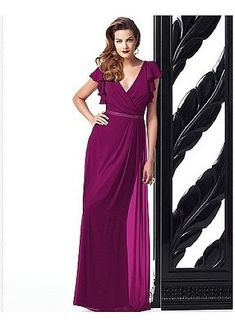 Elegant Chiffon V-neck Natural Waistline Floor-length Sheath Bridesmaid Dress