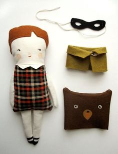 Girl doll with cape, bandit mask and bear head accessories by The Black Apple (Emily Winfield Martin)