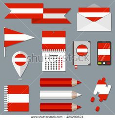 Set of icons with flag elements. Austria