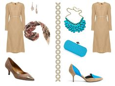 Variations on a dress: beige, with sleeves
