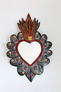Sacred Heart tin metal mirror / Mexican folk art