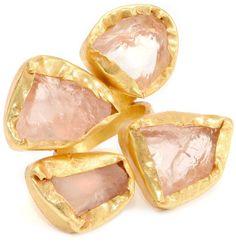 "Zariin ""Beautiful Finger"" Rose Quartz stones Gold Adjustable Ring"