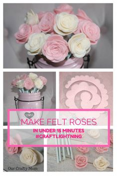 How To Make Pretty Felt Roses-Easy Tutorial Our Crafty Mom #felt #feltflowers #feltroses