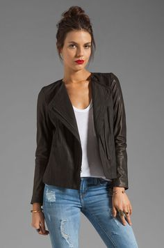 New arrivals eBay! #VINCE Leather Sleeve Linen Jacket Black Moto Sz8 M Listed for #charity