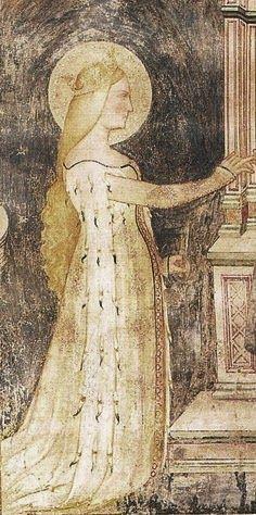 S. Caterina, Oratorio di Mocchirolo (MI): probabile abbottonatura fino a terra e manicotti di ermellino. Buttons run well above elbow.