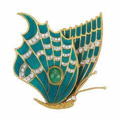Gold, Blue Guilloche Enamel, Diamond and Cabochon Emerald Butterfly Clip-Brooch, Tiffany & Co., France