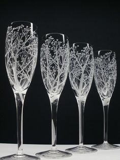 Arbre d'amour 4 coupes à Champagne main gravée flûtes de verre cristal clair Bridal cadeau fête mariage