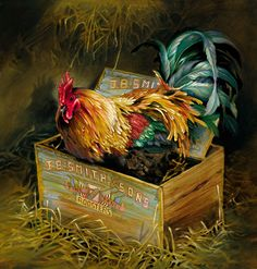 JB Wheaton by Nancy Noel Chicken, Rooster Rooster Painting, Rooster Art, Rooster Decor, Chicken Painting, Chicken Art, Farm Chicken, Chicken Signs, Chicken Cross Stitch, Chickens And Roosters