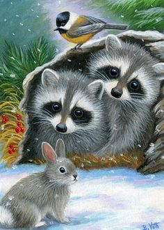 WOODLAND WINTER - These two little raccoons are telling their friends that there is room in the cozy log for them on a snowy winter day in the woods. Cute Animal Drawings, Cute Animal Pictures, Cute Drawings, Baby Animals, Cute Animals, Raccoon Art, Winter Painting, Christmas Animals, Wildlife Art