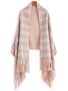 Pink Plaid Layered Fringe Warm Shawl Scarf — € -------------color: Pink  size: None