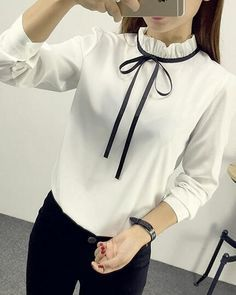 Ad a contrasting ribbon to your favorite white blouse for the hottest trend! Blouse Styles, Blouse Designs, Formal Tops, Shirt Blouses, Shirts, Chiffon Shirt, Office Outfits, Blouses For Women, Korean Fashion