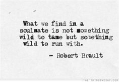 What we find in a soulmate is not something wild to tame but something wild to run with. - Robert Brault