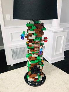 Minecraft Lamp made of LEGO® Bricks - Wood Crates Shipping Boys Minecraft Bedroom, Minecraft Room Decor, Lego Bedroom, Minecraft Decorations, Minecraft Crafts, Kids Bedroom, Bedroom Decor, Minecraft Furniture, Minecraft Houses