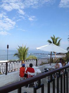 Breakfast on the veranda at Club Med Ixtapa in Mexico.  Great honeymoon idea.
