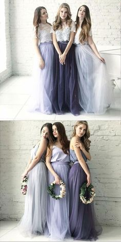 Lace Wedding Dresses Cheap Two Piece Round Neck Long Light Blue Grey Silver Purple Lilac Tulle With Top Lace Bridesmaid Dresses, Bridesmaid Dresses, - Bridesmaid Dresses Purple Lilac, Two Piece Bridesmaid Dresses, Grey Bridesmaids, Modest Bridesmaid Dresses, Wedding Dresses, Bohemian Bridesmaid, Long Dresses, Prom Dresses, Bridesmaid Outfit