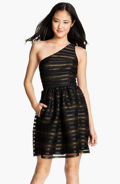 One Shoulder Metallic Fit & Flare Dress