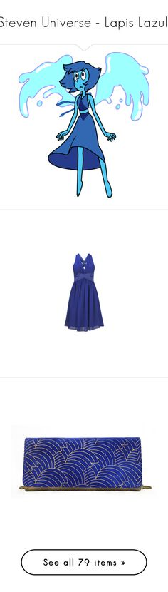 """""""Steven Universe - Lapis Lazuli"""" by marielw97 ❤ liked on Polyvore featuring dresses, blue dresses, gown, kleider, blue color dress, purple dress, blue dress, strappy dress, strap dress and bags"""