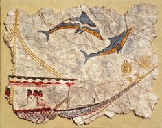 Ship with dolphins. Wall painting replica from Akrotiri excavation. Ancient Greek painting. Greece, Santorini 17th century BC
