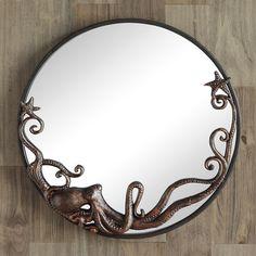 Octopus Cast Iron Round Wall Mirror Art Coastal Nautical Beach Ocean Decor for sale online