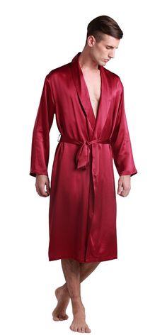 3184f05d7f 22 Momme Men Full Length V Neck Silk Robe 100% Pure Silk By LilySilk -