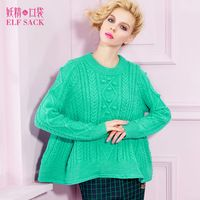 ELF SACK fashion brand new arrival 2015 spring womens casual twisted jacquard sweet pullover sweater pure color free shipping
