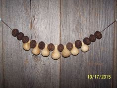 "22"" Garland w/ Walnuts & Spinner Gourds Early Primitive Country Cabin Fall Decor #NaivePrimitive"