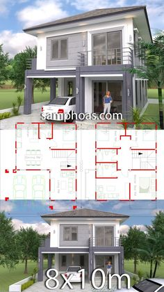 4 Bedrooms Home Design Plan This villa is modeling by SAM-ARCHITECT With Two stories level. It's has 4 bedrooms.Simple Home Design Villa Design, 3d Home Design, Home Design Floor Plans, Simple House Design, Modern House Design, Duplex House Plans, Bedroom House Plans, Dream House Plans, Modern House Plans
