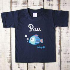 Camiseta niño manga corta pez con tu nombre - Marketplace social de tiendas para niños de 0 a 14 años