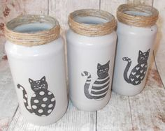 Glass Jars, Set of 3 Decorative Glass Jars In Grey Gray with Cats decoupage, Shabby Vintage Rustic Chic decorativeglass Shabby Vintage, Vintage Jars, Shabby Chic, Rustic Chic, Crafts With Glass Jars, Mason Jar Crafts, Bottle Crafts, Mason Jar Kitchen, Mason Jars