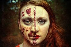 Special effects makeup - Emily uses liquid latex to stitch together the beautiful and the ugly.